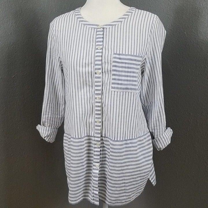 J Jill Striped Shirt Tunic Top S Cotton