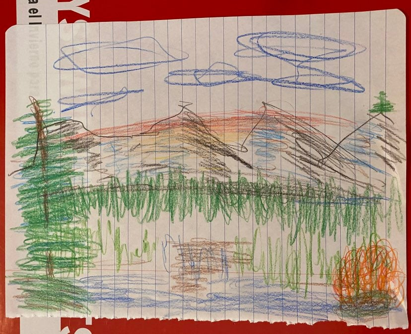 Mountain Art Drawing with Happy Tree