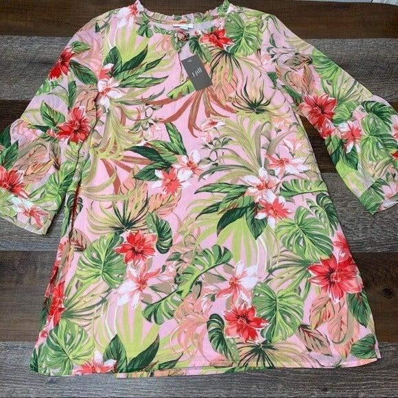 J Jill Floral Bell Sleeve Tunic Top