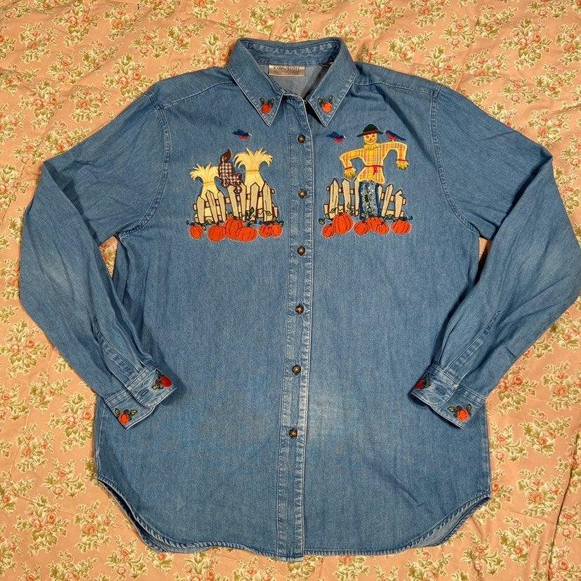Vintage 90s Karen Scott Scarecrow Shirt