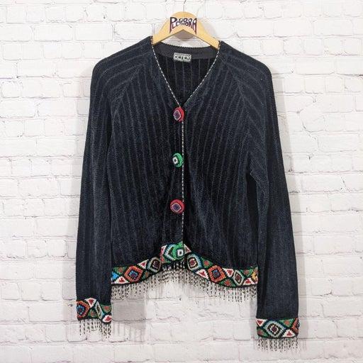 Vintage Berek Black Beaded Cardigan