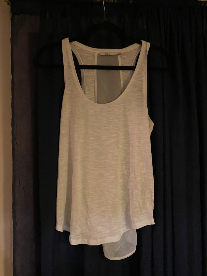 Dex White Sheer Tank Top