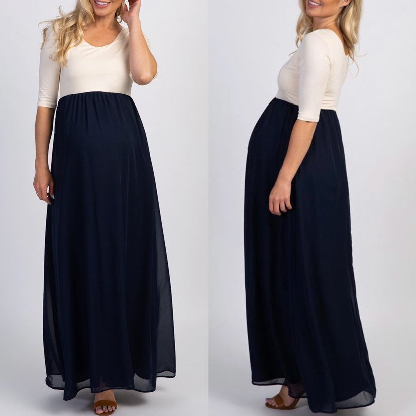 PinkBlush Chiffon Colorblock Maxi Dress