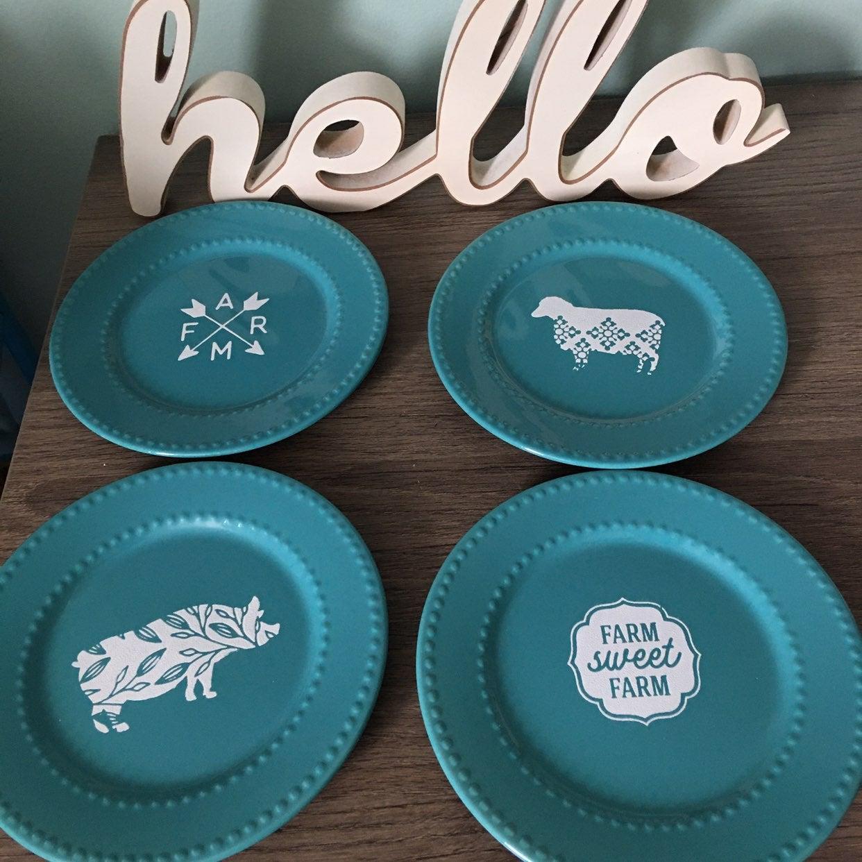 Teal Farmhouse Plates Set of 4