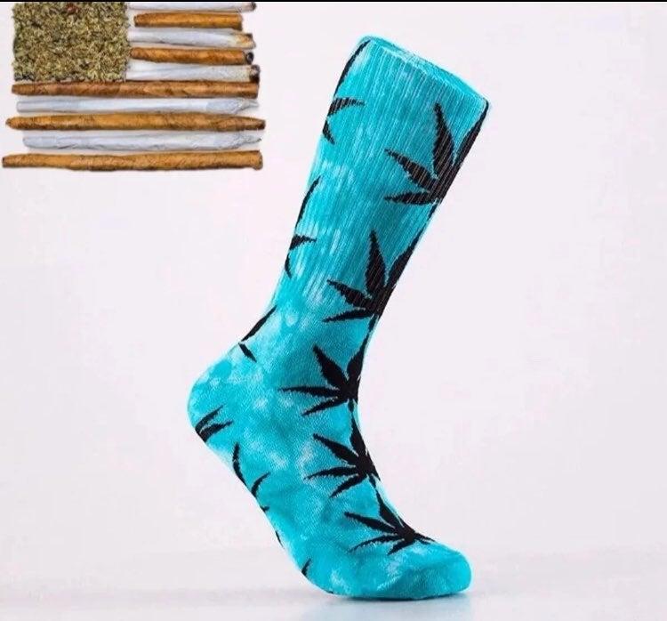 2 pairs weed socks Blue/white white/Blue