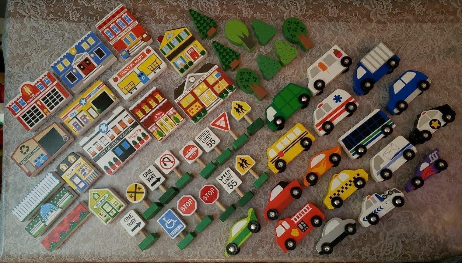 melissa and doug 50 piece car & town lot