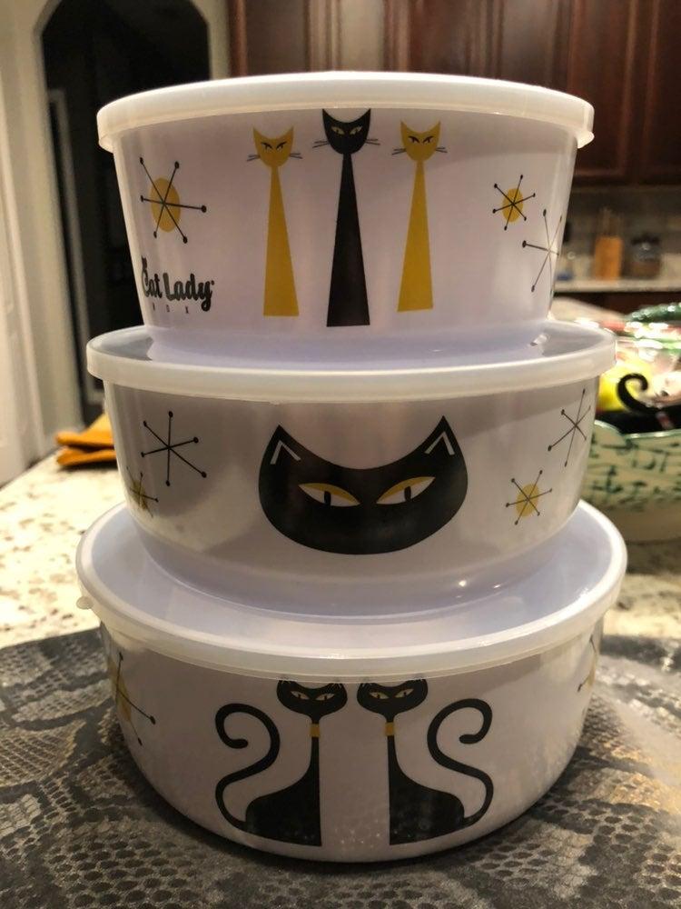 Set of three modern cat bowls with lids