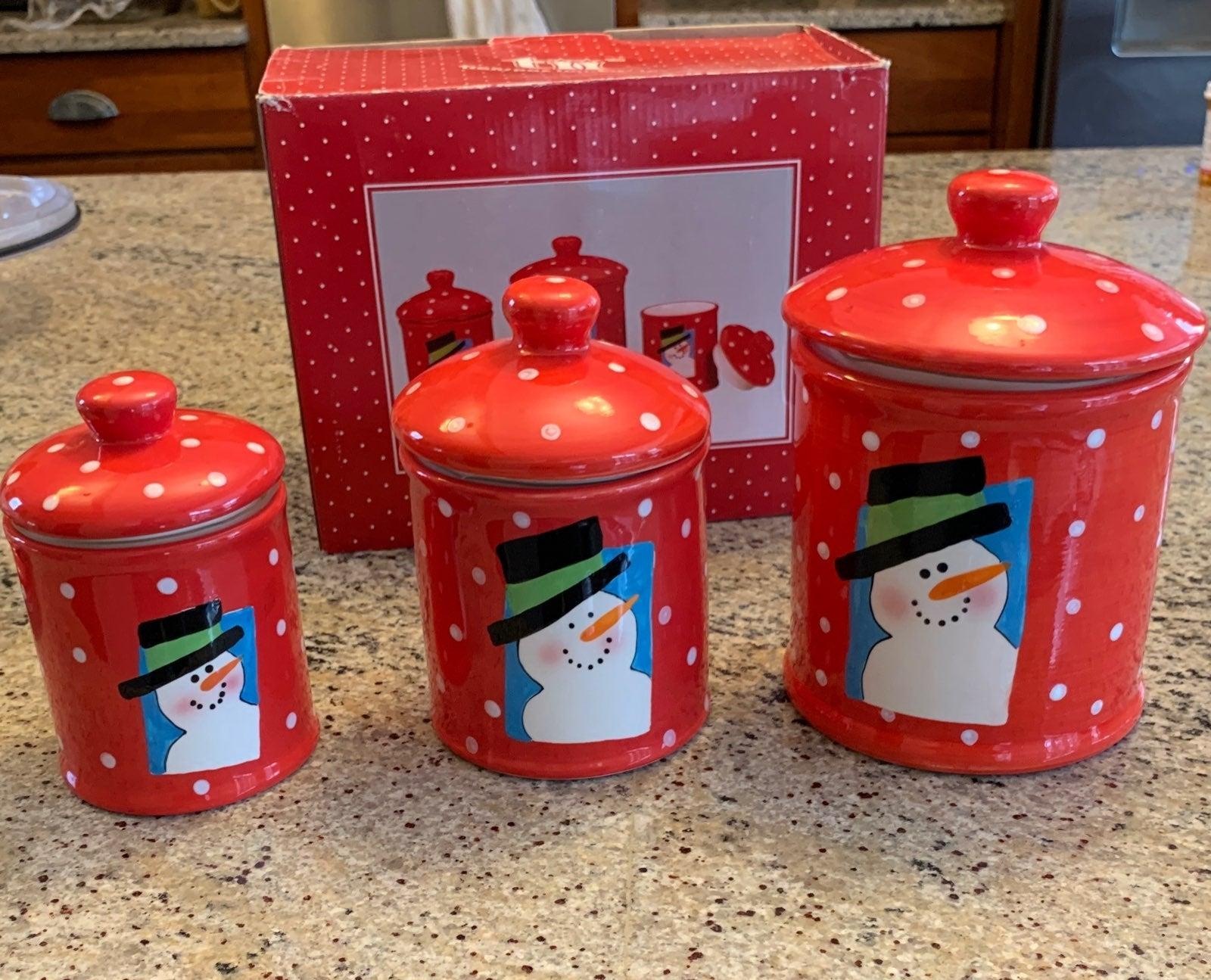 Snowman polka dot canister - set of 3
