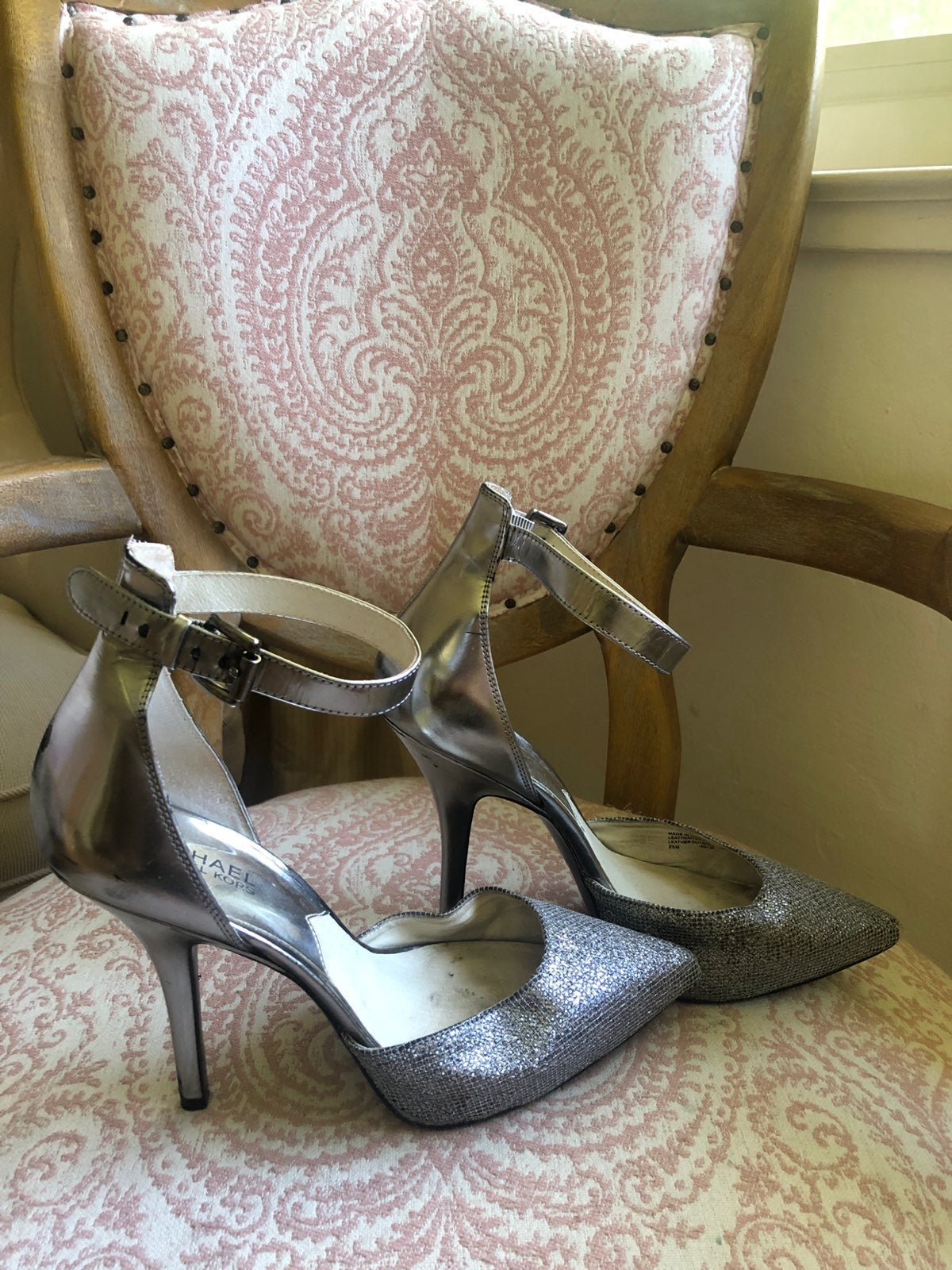 Michael Kors Silver Sparkle Heels Size 8