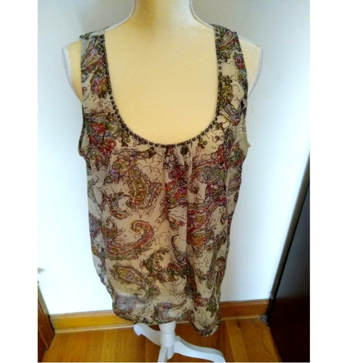 Relativity Sheer Boho Beaded Tank XL EUC