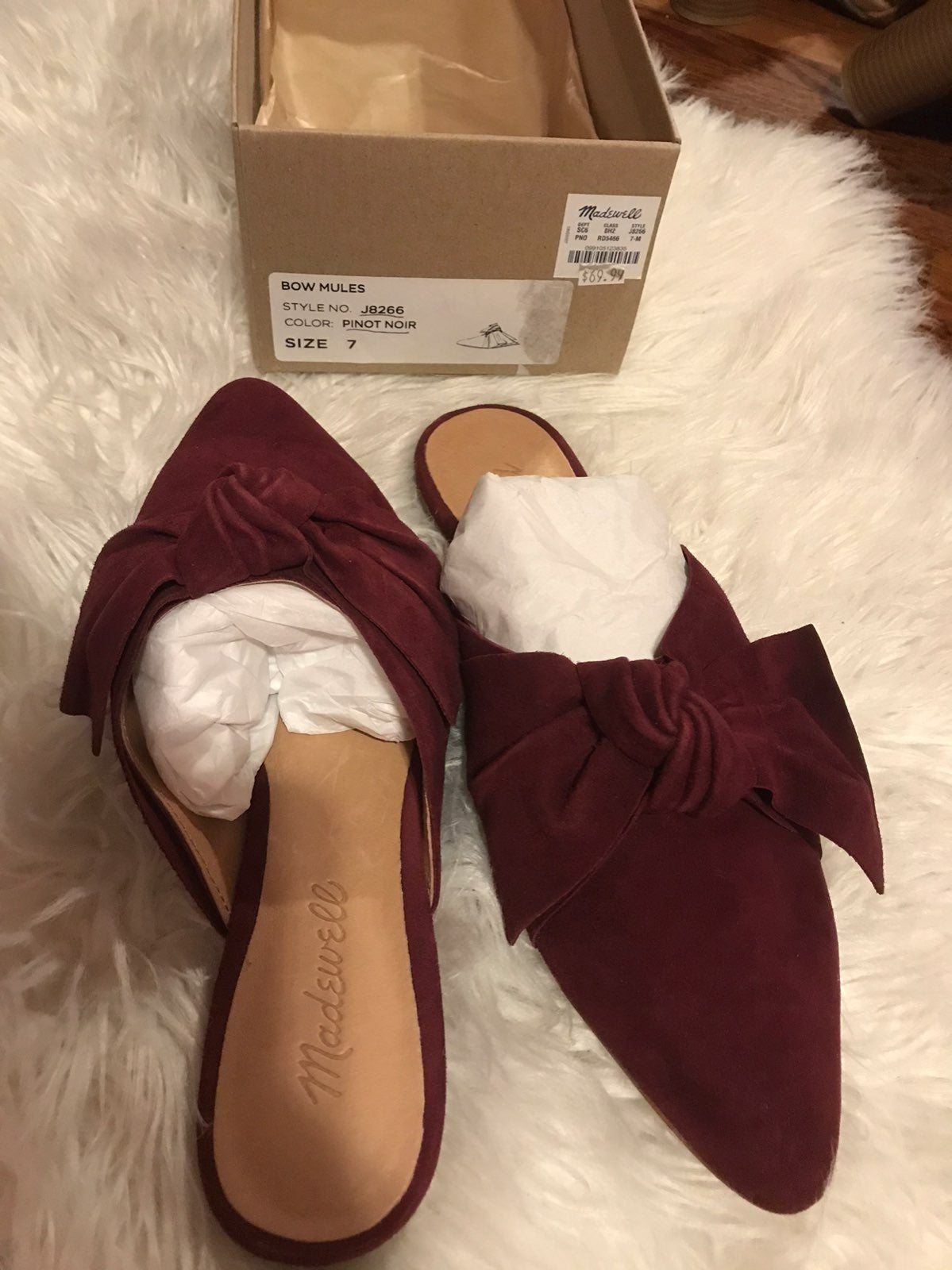 NEW Madewell Pinot Noir Suede Mules