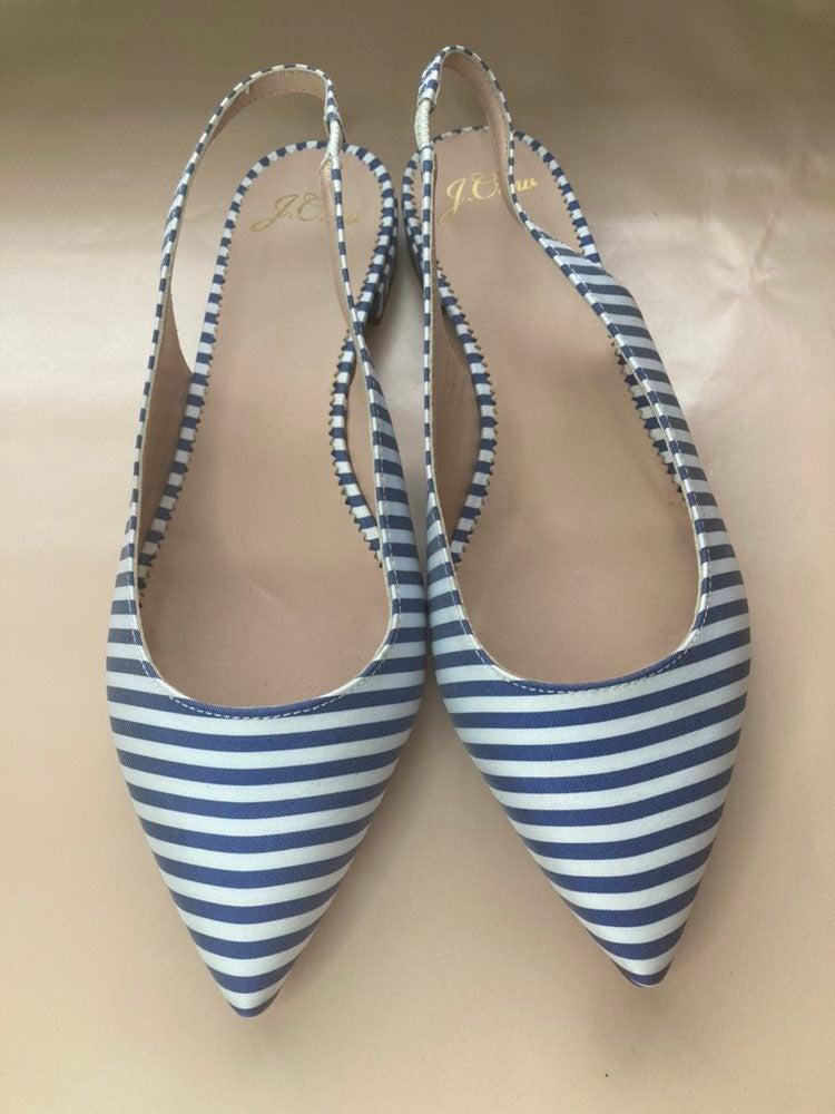 J.Crew Pointy Toe Slingback Blue & White