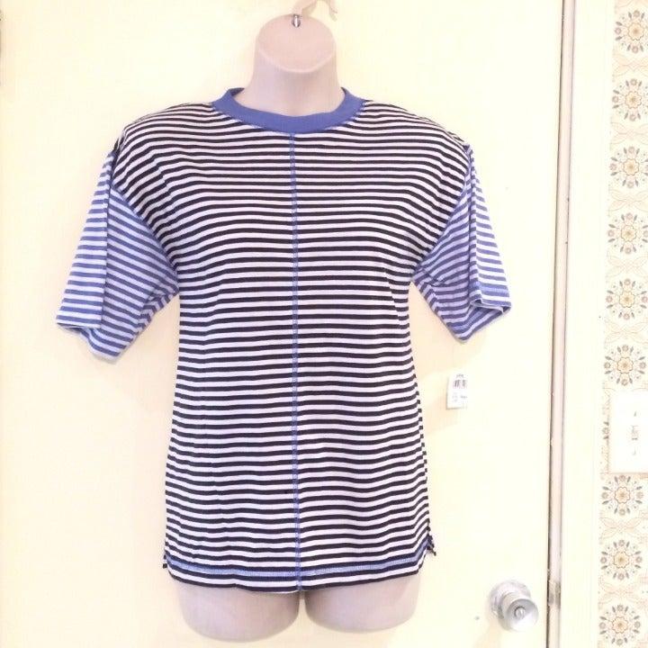 NWT Jason Maxwell L blue stripe knit top