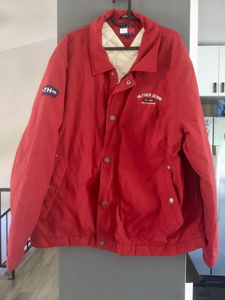 Red Tommy Hilfiger Denim jacket