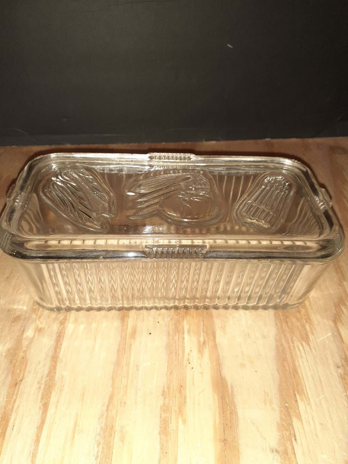 Vintage Federal Ribbed Clear Glass Refri
