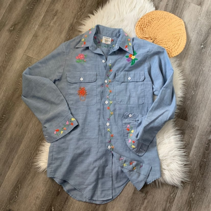 Embroidered 70's JC Penney chambray