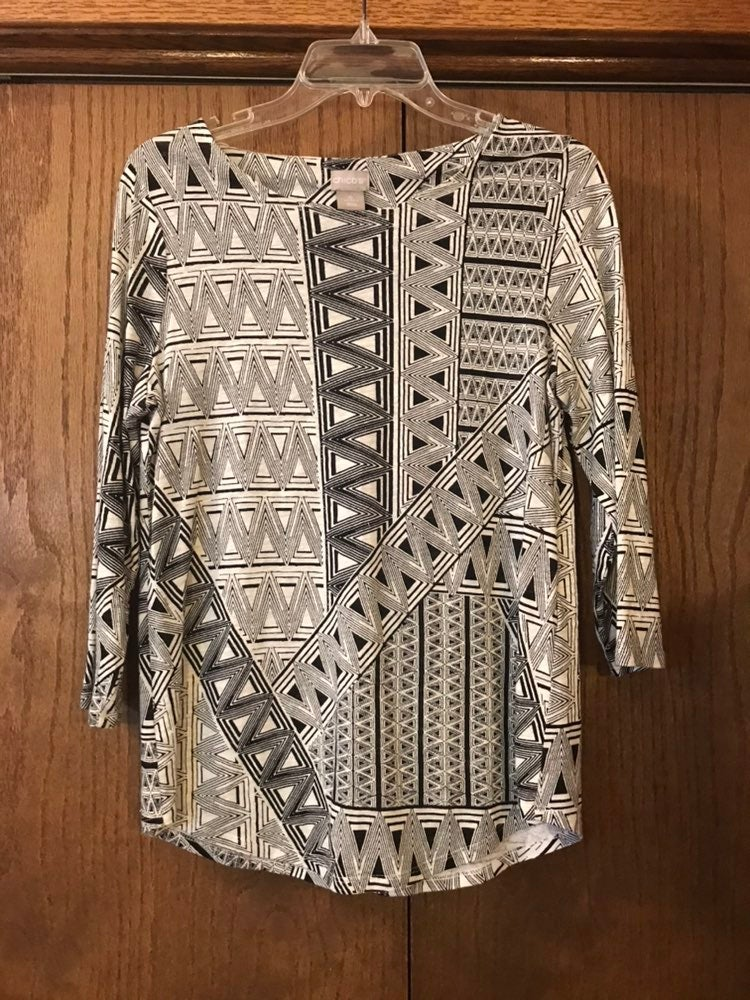 Chico's Tribal Print Linen Top Size sm