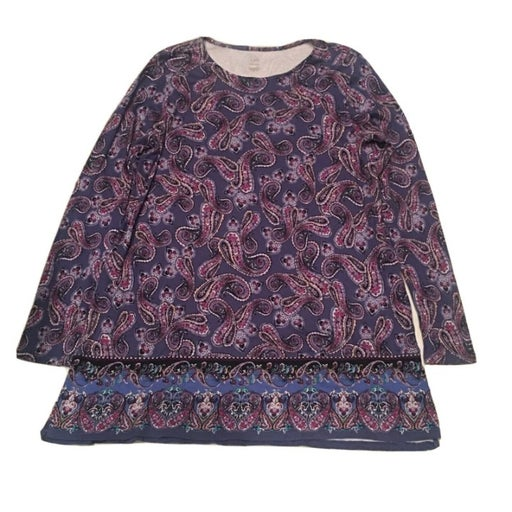 J.JILL Pima Tunic Women's Size Medium Long Sleeves Paisley