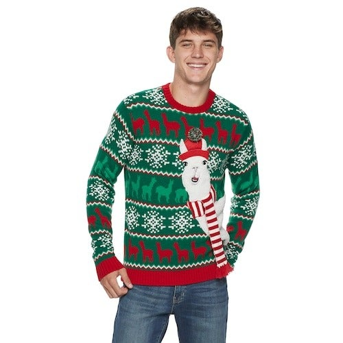Ugly Christmas Sweater Surprised Llama L