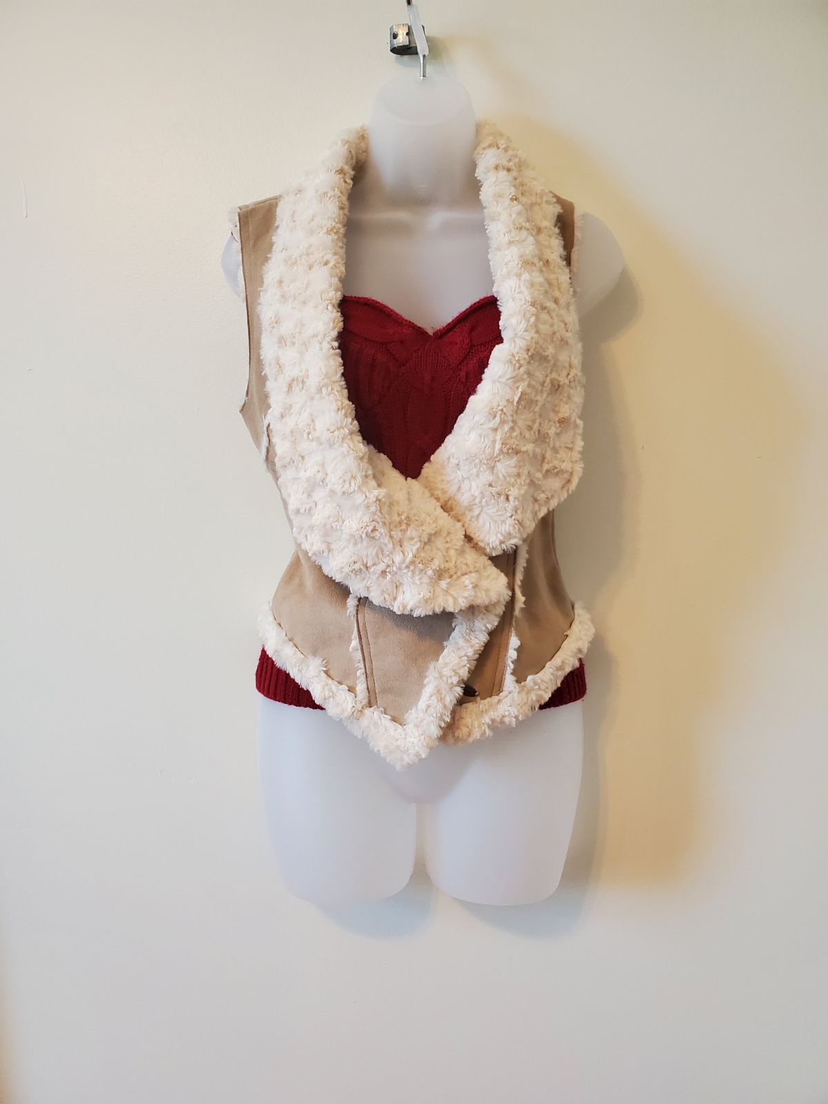 Guess faux suede and sherpa lined vest