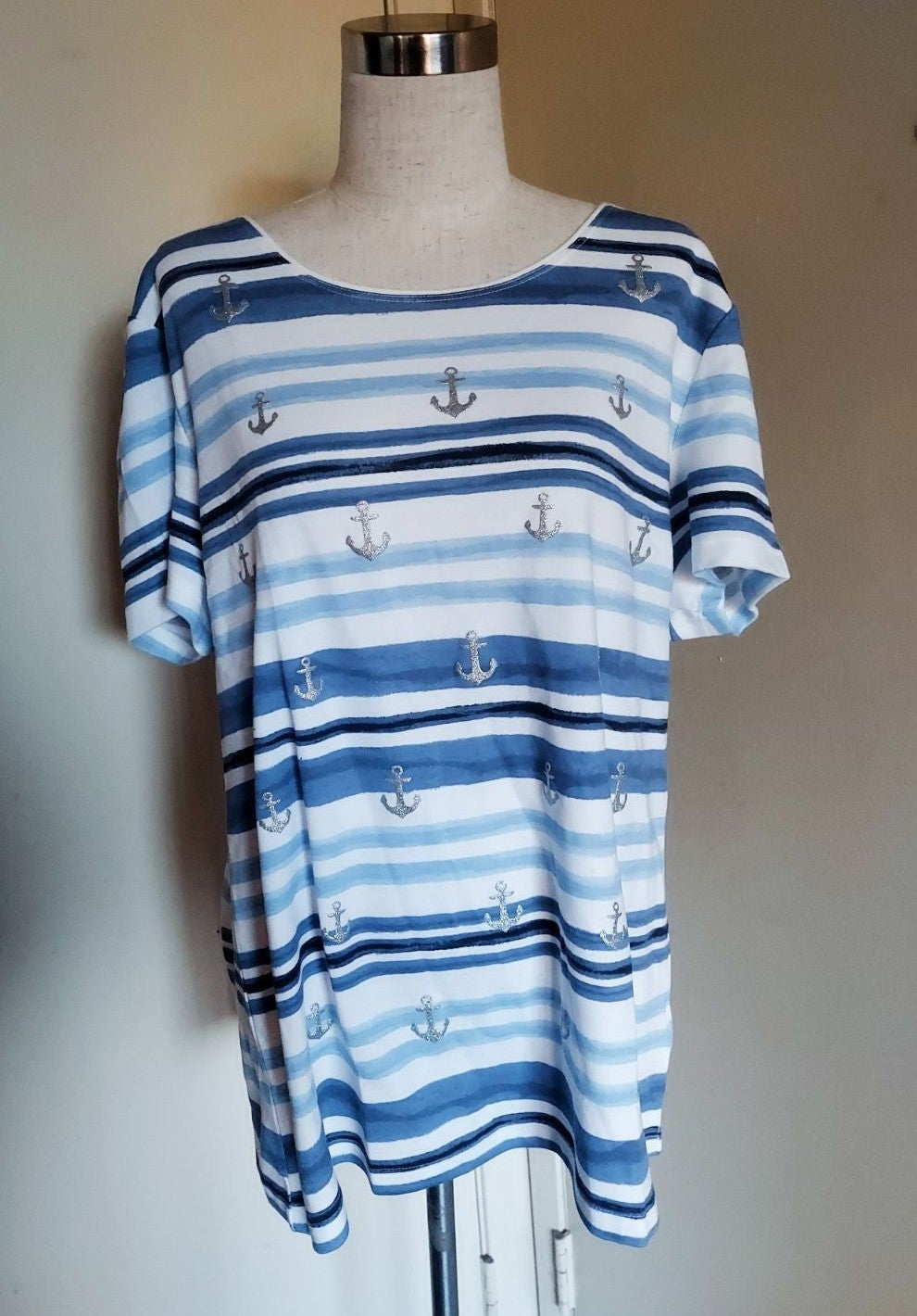 Karen Scott Striped Anchor Nautical Top