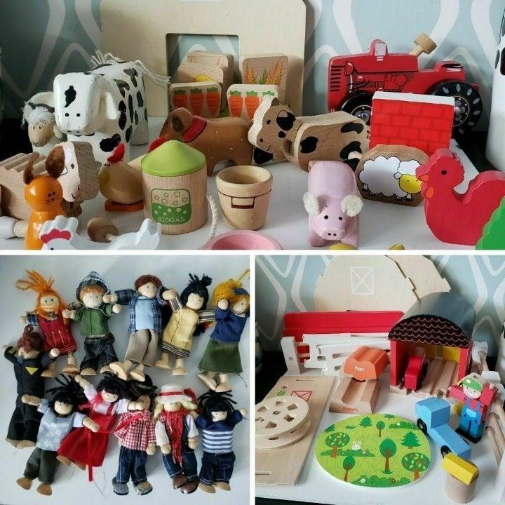 Plan Toys Lot:Farm People & Animals Barn