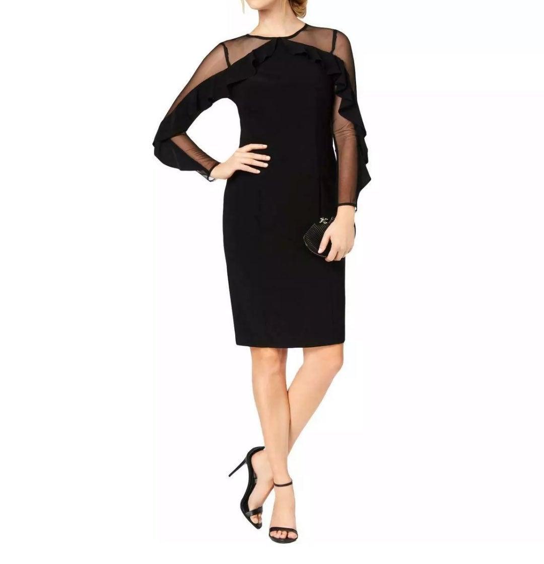 R&M Richards Black Evening Sheath Dress
