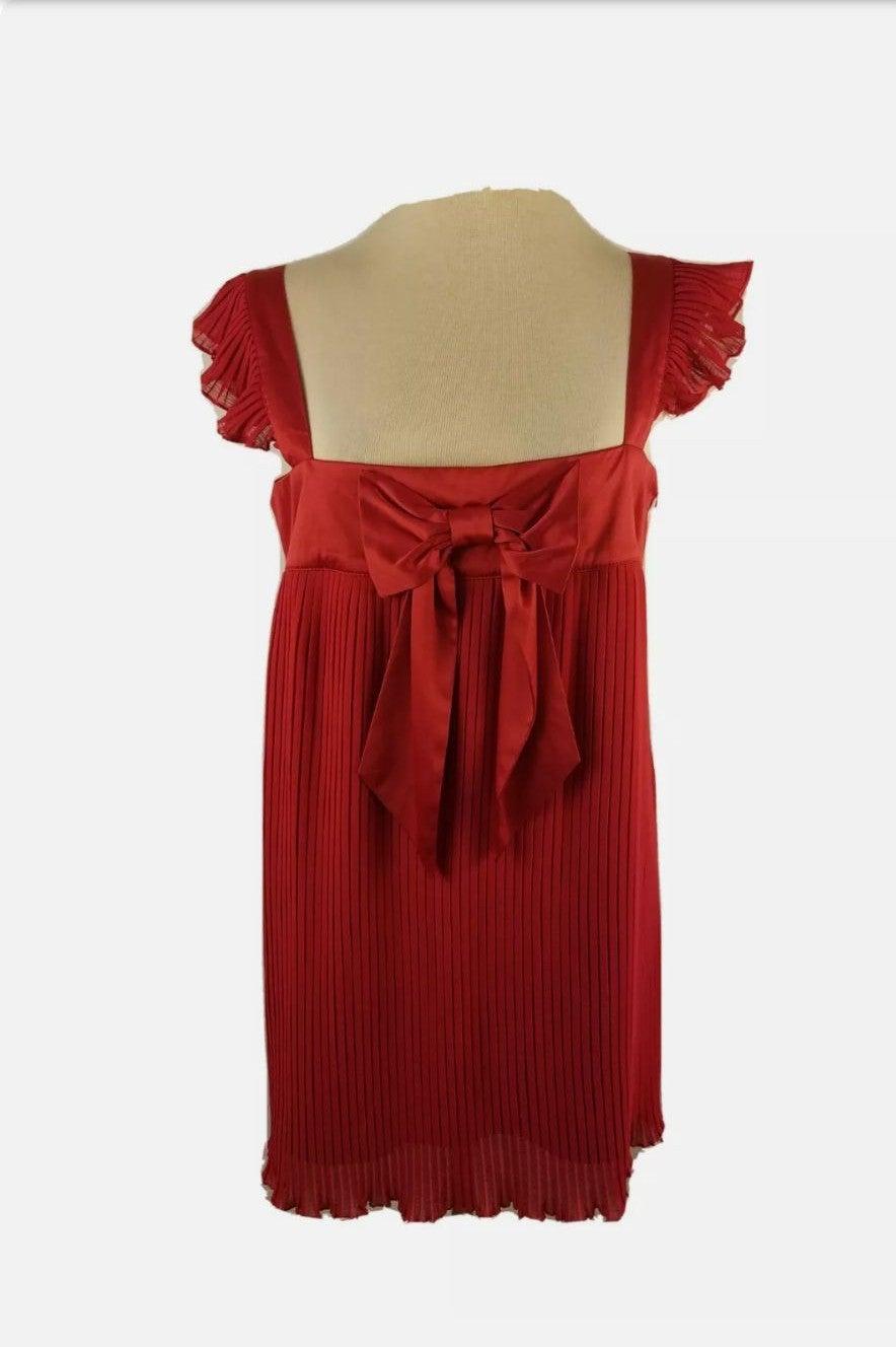 Red Charleston Dress Pleats Cap Shoulder