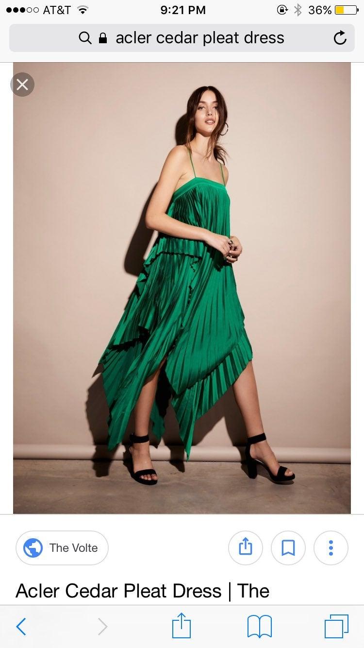 Acler Cedar Pleat Dress Green Rare