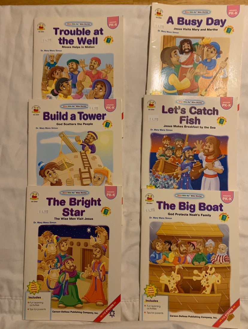 Set of 6 bible story sticker books