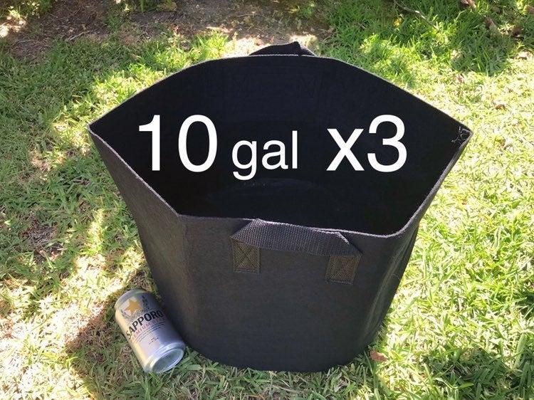 3 pcs, 10 gallon plant grow bags
