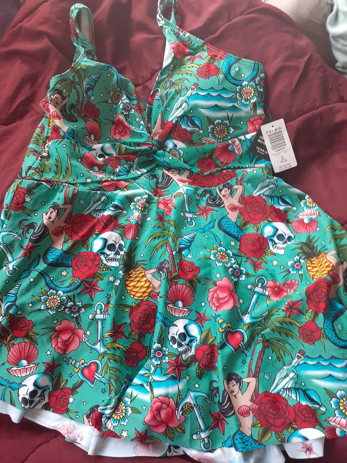 Torrid 2 Mermaid swim dress New