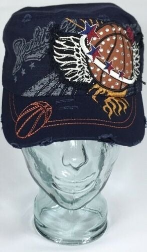 Bling Basketball Sport Hat - Navy Blue