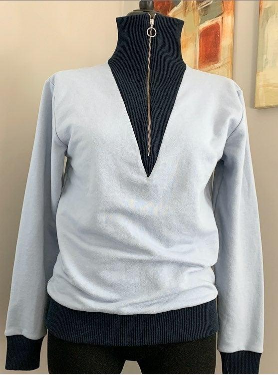 Sandro Blue Turtleneck Sweatshirt