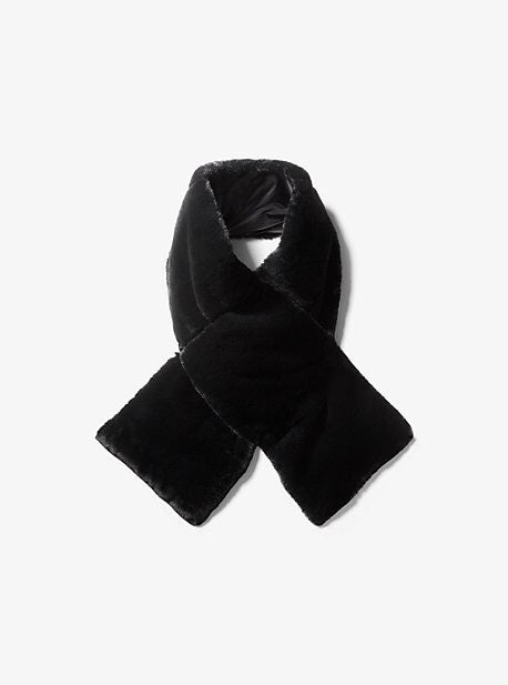Michael Kors Black Fur Packable Scarf