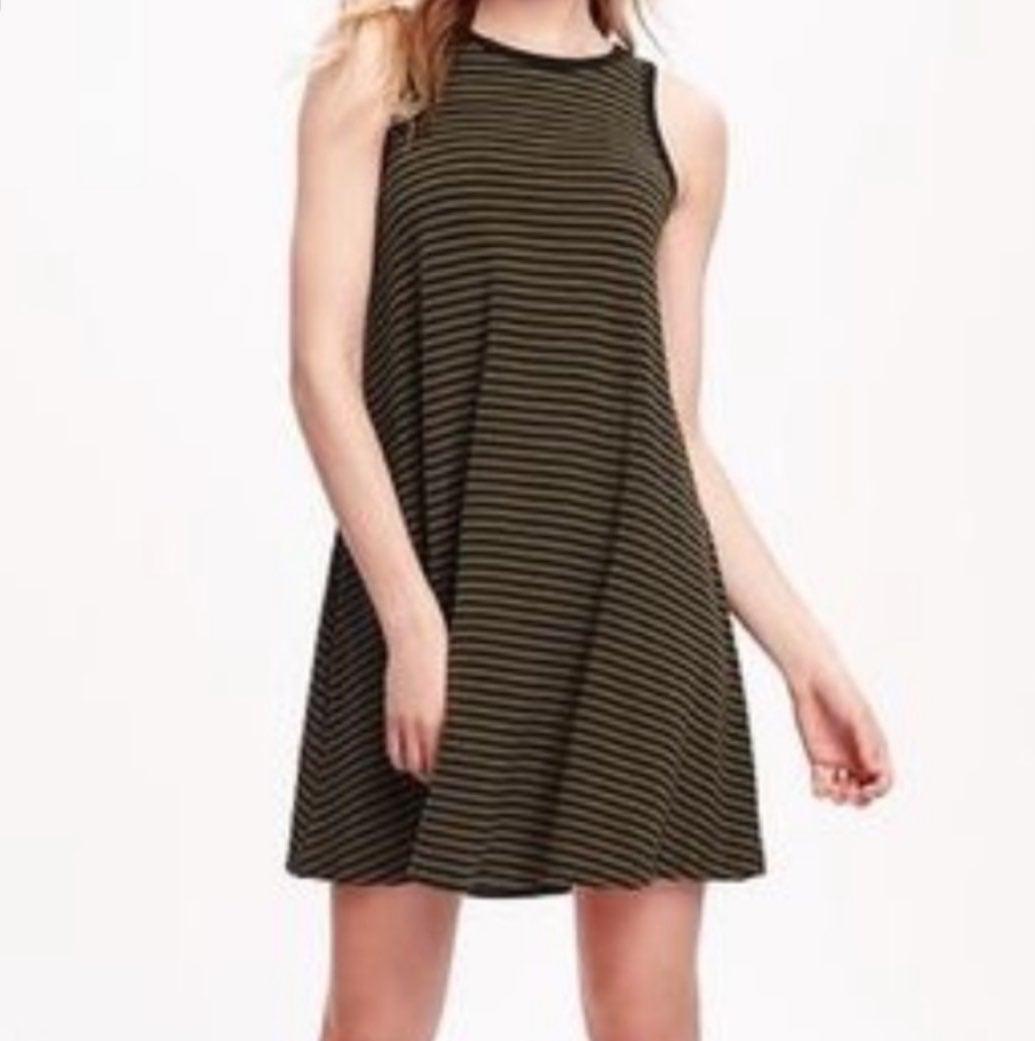 Old Navy Olive Black Striped Swing Dress
