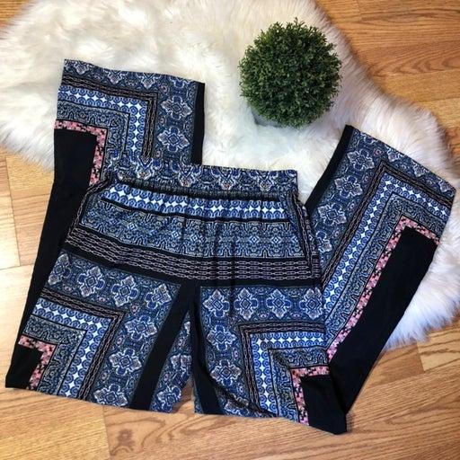 Cremieux Blue Flare Patterned Pants