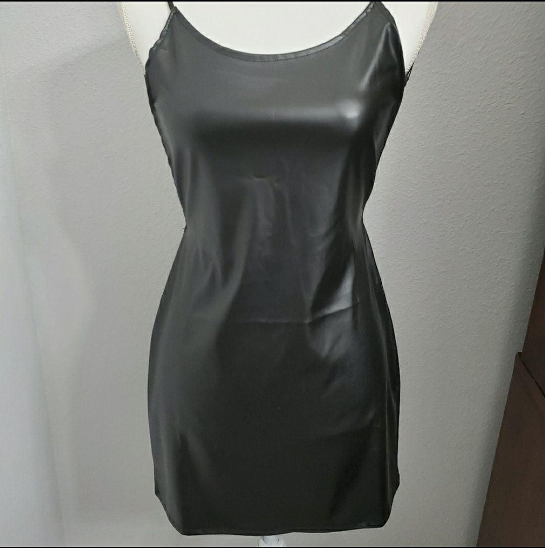 Women Leather Look Black Mini Dress