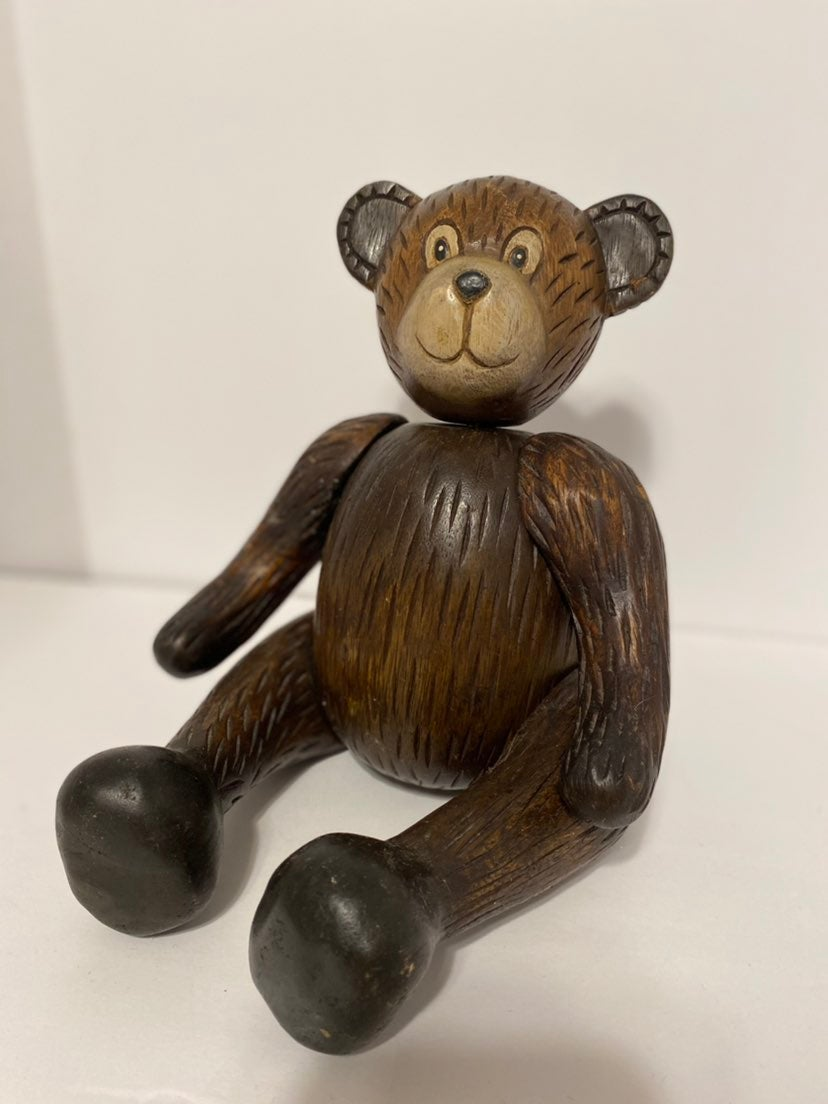 Jointed Carved Wooden Teddy Bear