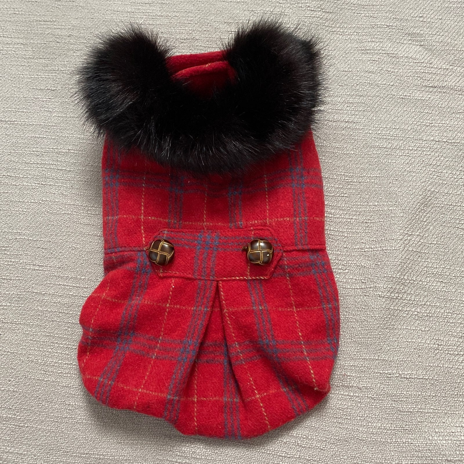 Dog Pea Coat with Faux Fur Trim