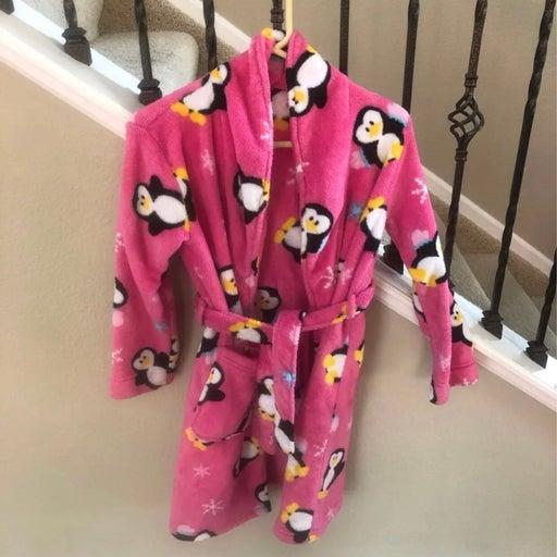 Pink Fleece Penguin Robe