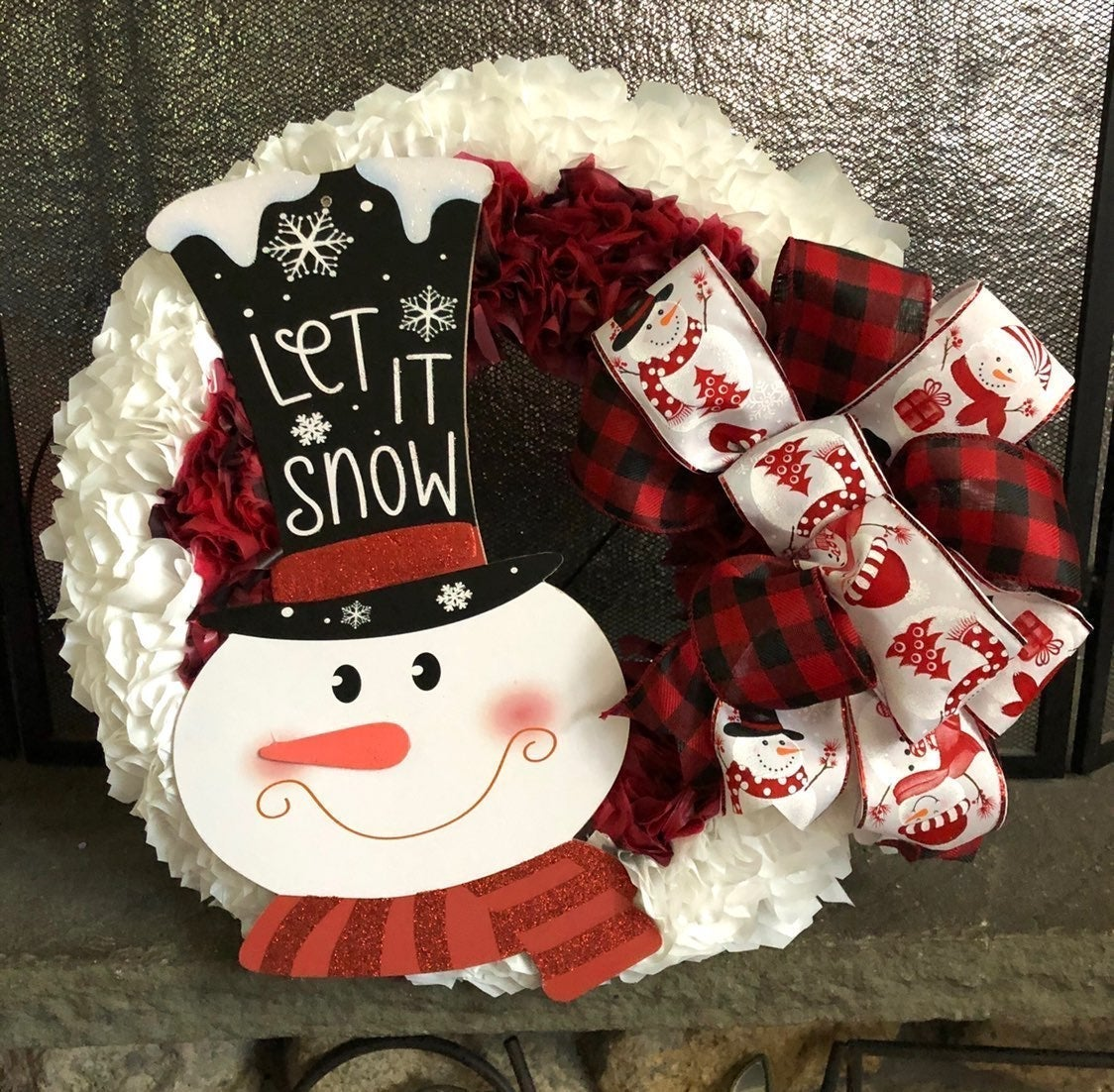 Let it Snow Snowman Holiday Wreath