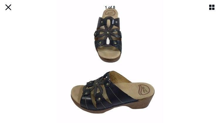 Dansko Black Floral Slip On Sandal Clogs