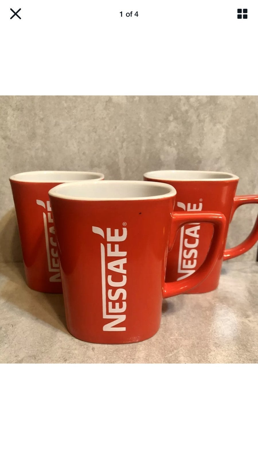 3 Vintage Nescafe Red Square Coffee Mug