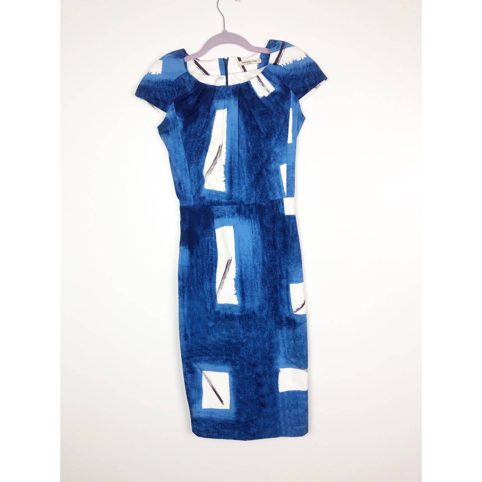 Samantha Sung Sheath Cap Sleeve Dress