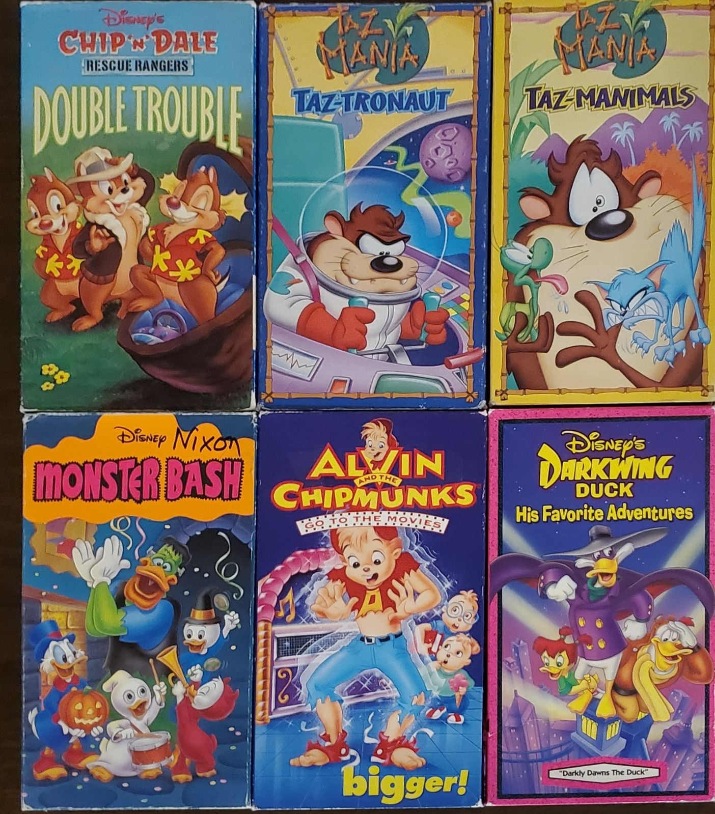 Kids cartoon VHS lot Disney Taz Alvin