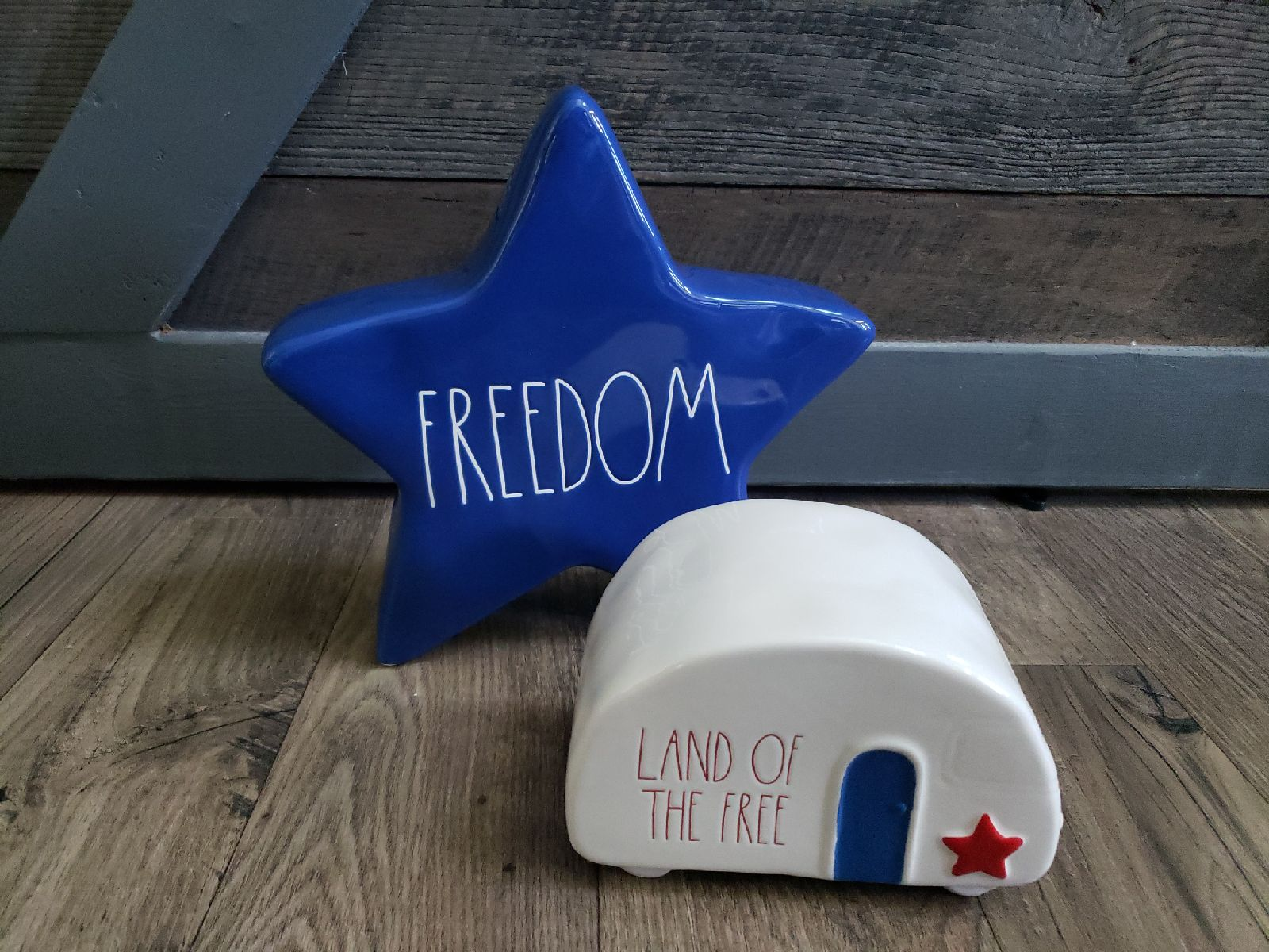 Rae Dunn FREEDOM blue Star land of the f