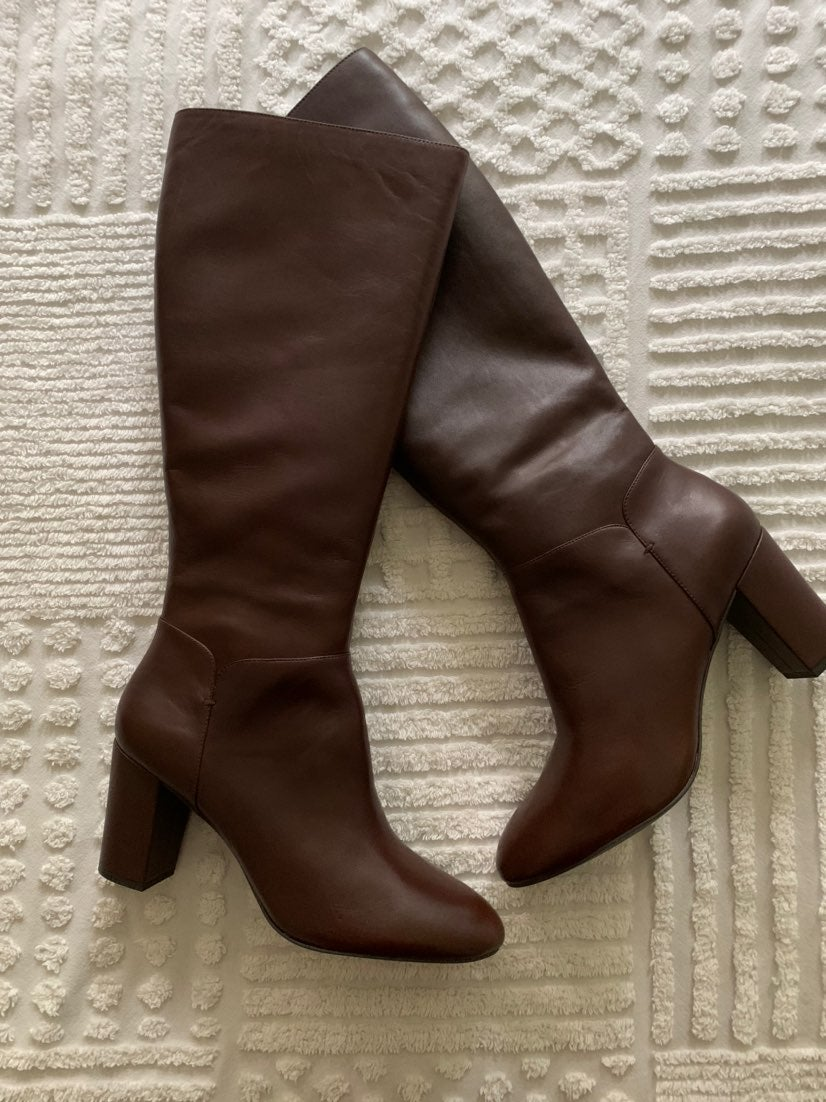 BOOTS SIZE 11M H BY HALSTON BRN LEATHER