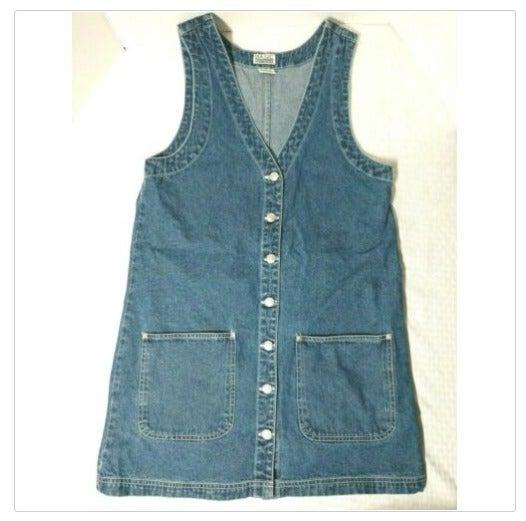 Vintage Denim Jean Jumper Dress Pockets