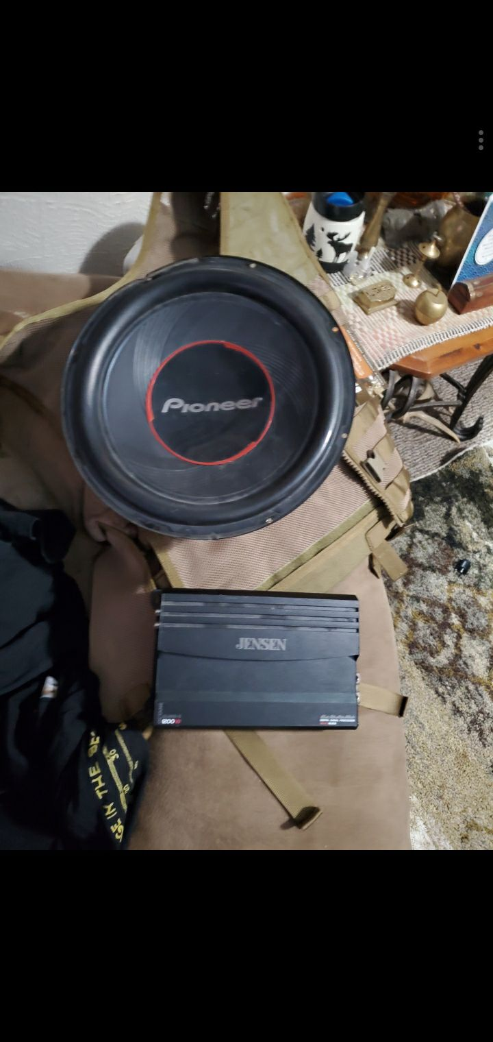 "Pioneer 12"" Subwoofer + Jensen Amp"